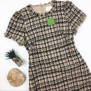 Kate Spade NWT Two Tone Tweed Fringe Shift Dress